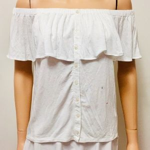 AEO Off White Off Shoulder Button Down Top (L)